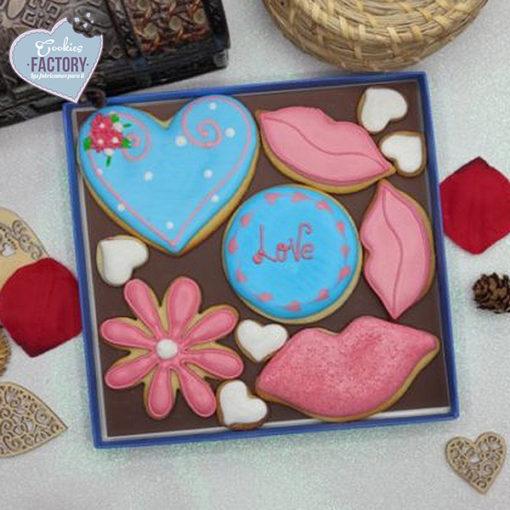 caja galletas personalizadas San Valentin corazon azul