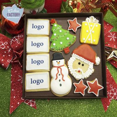 caja galletas personalizadas empresa logos navidad
