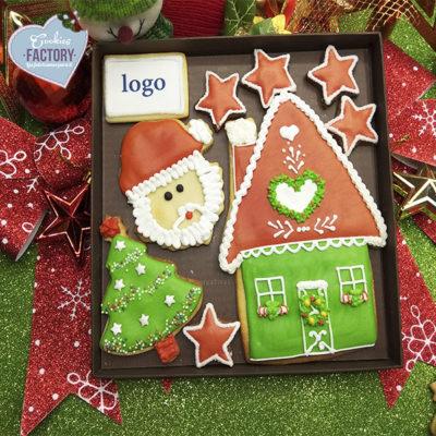 caja galletas personalizadas empresa navidad logo