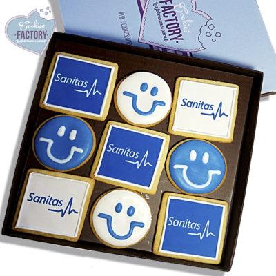 caja galletas personalizadas empresa sanitas