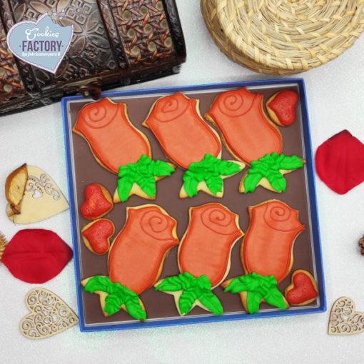 caja galletas personalizadas San Valentin rosas rojas