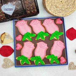caja galletas personalizadas San Valentin rosas rosas