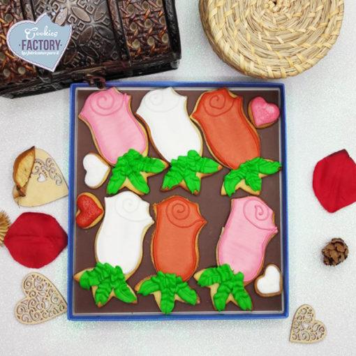 caja galletas personalizadas San Valentin rosas variadas