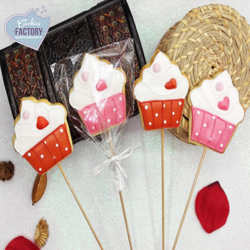 galletas decoradas san valentin cupcake con palo