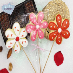 galletas decoradas san valentin flores con palo